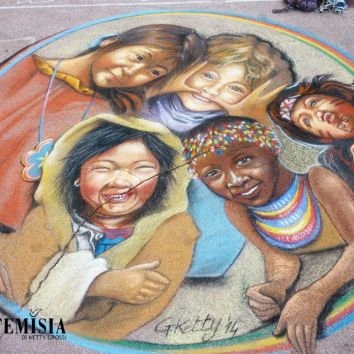 "Personal Painting: ""Olympics"" Chalk on street - 3x3mt First prize Public and First Prize Institut Européen des Arts Contemporains. I have dedicated my design for the children, their right to play. Against the exploitation of child labor. Every child should have the opportunity to play and do sports. One day be able to compete for his country at the Olympics."