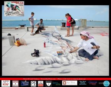 Key West Chalk Festival Sunday Sidewalk Celebration. Corey Malcom, Lisa Malcom and kids Ally and Robert with artist Ketty Grossi. Photo by Carol Todesco