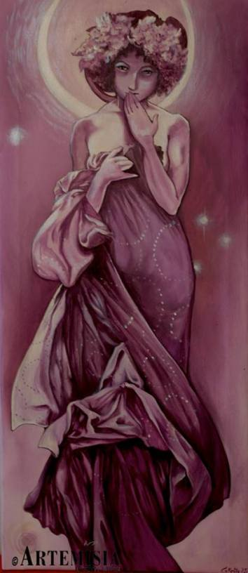 Copy A. Mucha - Moon Acrylic on canvas - cm 70x25 Tacked in purple on commission
