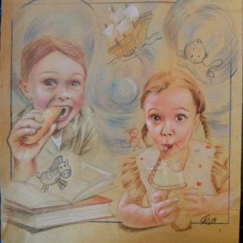 """Sketch for Sarasota Street Art Festival, in Venice - Florida. Theme: """" Eat, drink and be Marry"""" This is my idea: """" Books shelved as food-for-thought """" . Books are the food for the mind and the imagination of children!"""