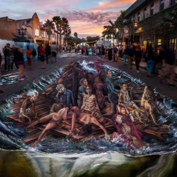 MAYDAYMAYDAY The Raft of Human Rights Piece dedicated to the Mediterranean Sea. Chalk and Paint on Street 6x20 mt Sarasota Chalk Festival - Florida