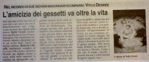 Grazie Competition 2005 - Article on the painting tribute to his friend Vito died a few months earlier.