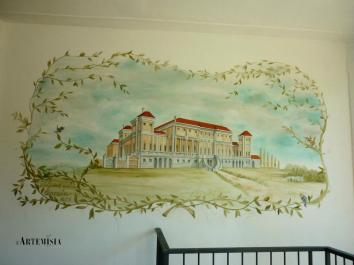Painting on the wall. Villa Favorita in Mantua , copied from antique reproductions.