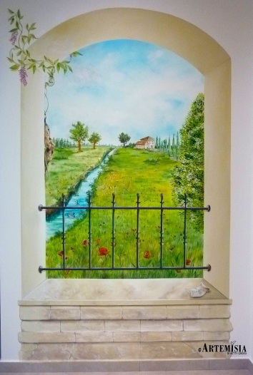 Trompe l'oeil. Mantua landscape.