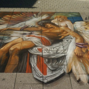 'Fall of Icarus' - Whilelmshaven StreetArt Festival - Germany Chalk of pavement mt 3x2