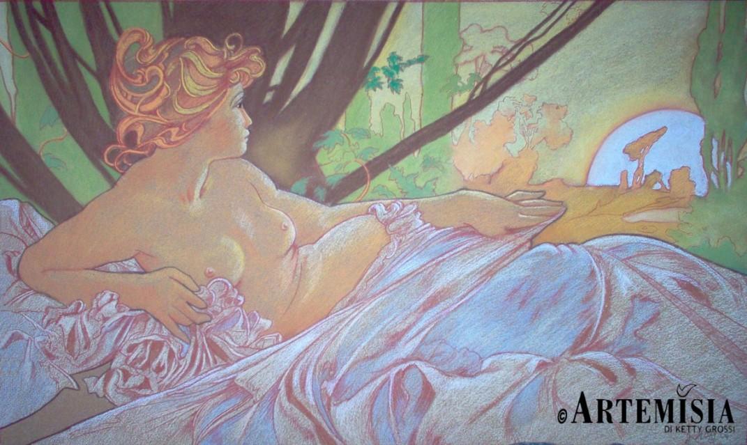 'Aurora' copy from Mucha Chalk on wood 100x120 cm