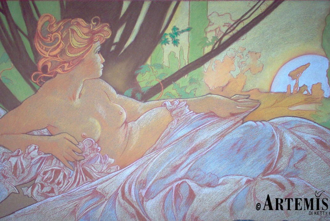 'Aurora' copy from Mucha Chalk on wood 100x120 cm