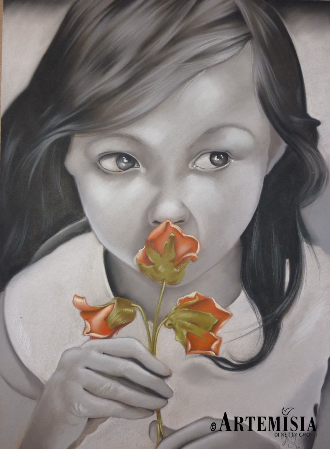 Portrait 'Kid' Chalk on wood 100x120 cm