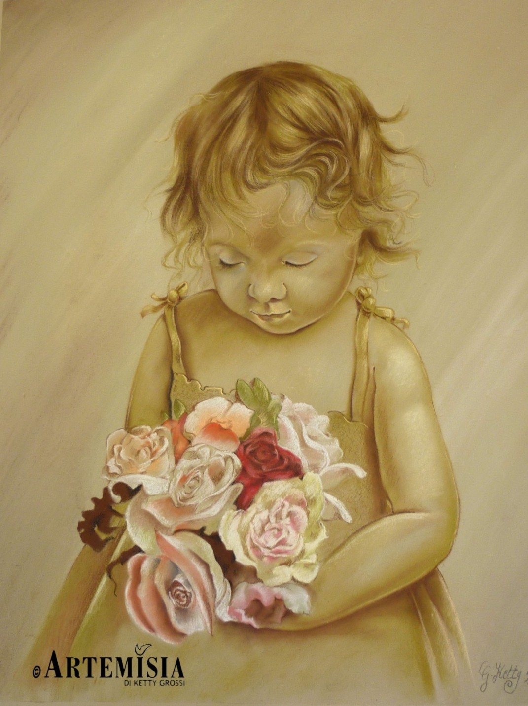 Portrait 'Kid' Chalk on wood 100x80 cm