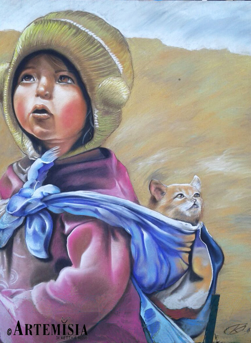 Portrait 'Kid with Cat' Chalk on wood 140x120 cm
