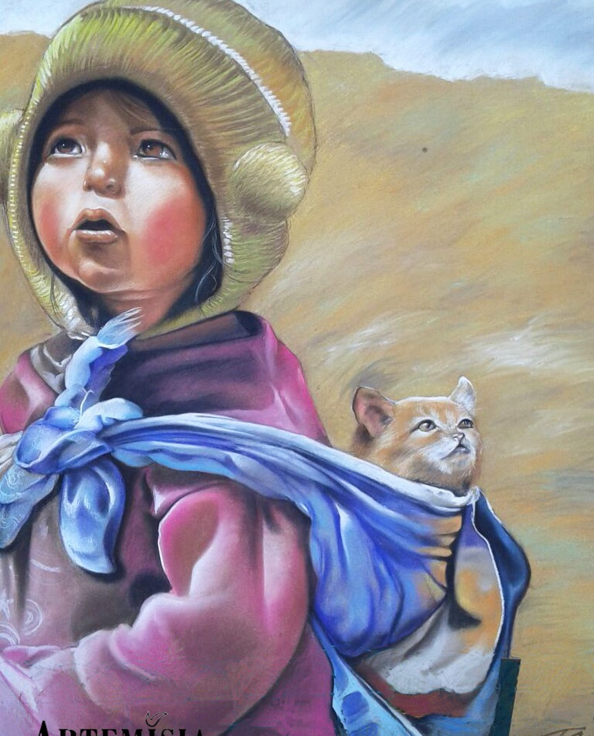 Portrait 'Kid with Cat' Chalk on wood 140x120 cm