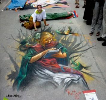 Copy to Fantasy paint. Chalk on street 2,4x2,2 mt
