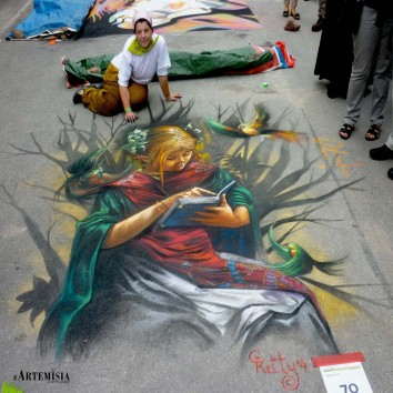 Copy to Fantasy paint. Chalk on street 2,4x2,2 mt