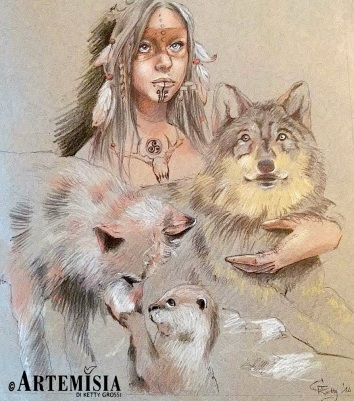 """Venice - Florida 2014 - Chalk Festival in Venice celebrating 'Extinct and Endangered Species' - Personal Theme: """"The spirit of Wolf"""""""