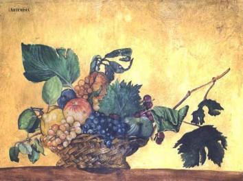 Copy - ' Cesto di frutta' Caravaggio Tempera on plaster. Copia - 'Cesto di frutta' Caravaggio Tempera su intonaco.