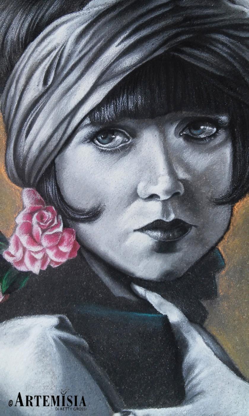 Portrait 'Louise Brooks' Chalk on pavement 150x120 cm