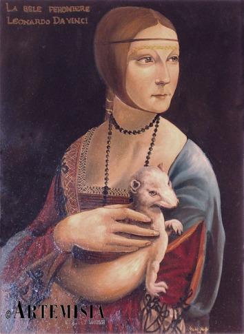 Copy to 'Dama con Ermellino ' Leonardo Egg tempera on wood. Copia di ' La dama con l'Ermellino' Leonardo. Tempera all'uovo su legno