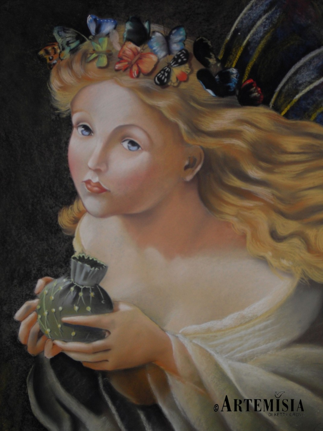 Copy from Andersen Sophie. 'Take the Fair Face of Woman, and Gently Suspending, With Butterflies, Flowers, and Jewels Attending, Thus Your Fairy is Made of Most Beautiful Things - purportedly from a poem by Charles Ede. Chalk on wood 120x150 cm