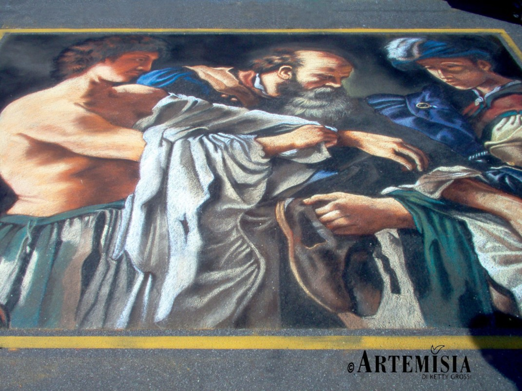 'Il ritorno del figliol prodigo' Copy from Carracci Chalk on pavement In International competition in Grazie - Mantua -Italy MEDAL GOLD IN SIMPLE CATEGORY 2,5x3 mt