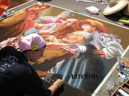 'Vocazione di San Matteo' Copy from Hendrick Ter Brugghen. Chalk on pavement. International competition in Grazie -Mantua -Italy 2,5x3 mt