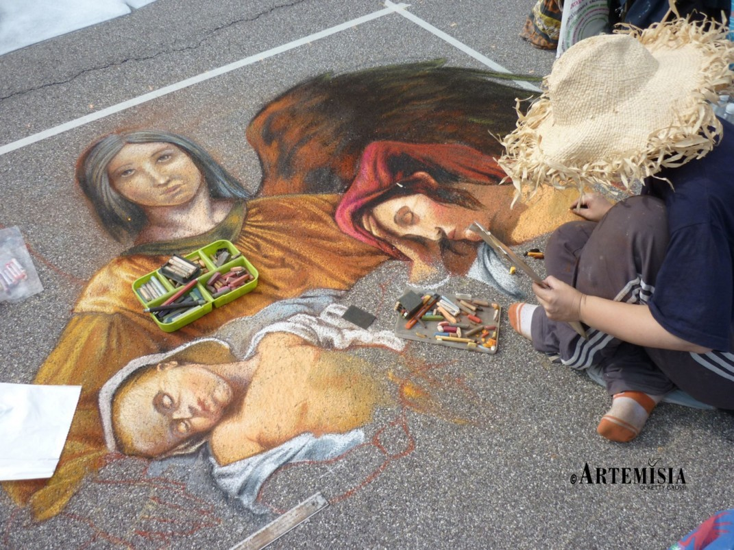 Copy - Chalk on pavement in International competition in Grazie - Mantua -Italy 2,5x3 mt