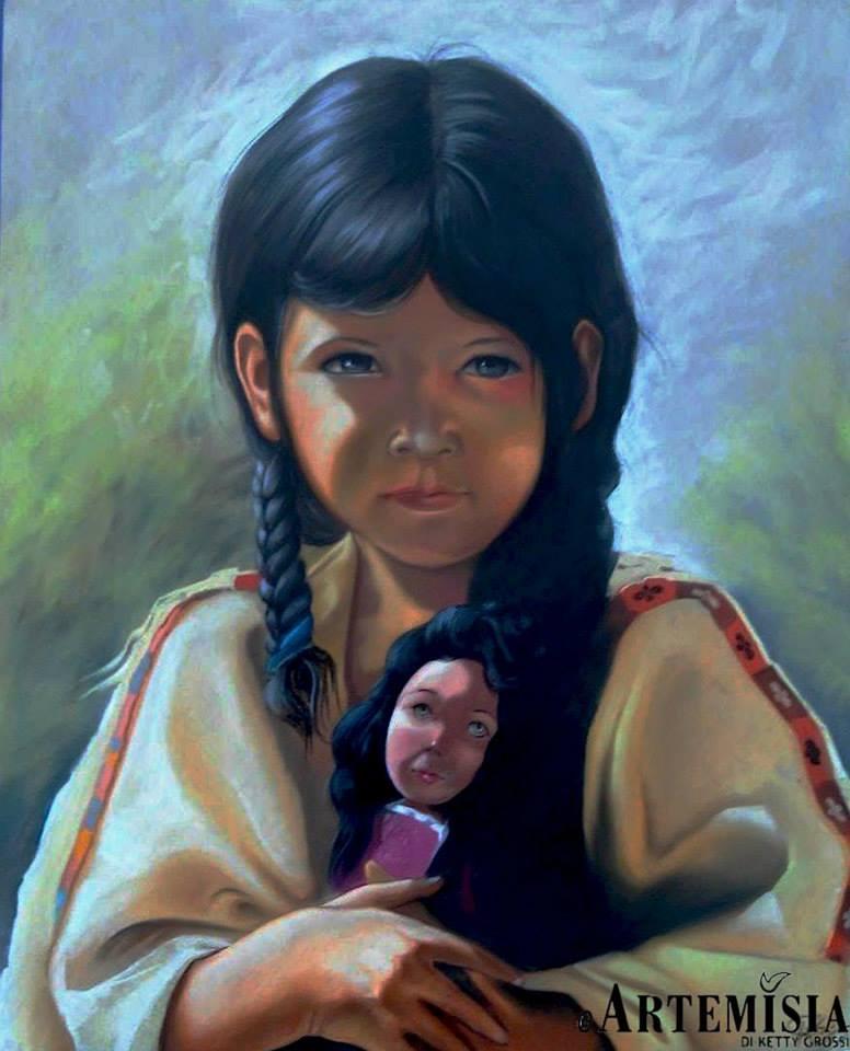 Portrait ' Indian girl' Chalk on wood 100x120 cm