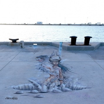 'The fall of Babylon' 3D tempera and chalk on pavement 7x2,5 mt Key West