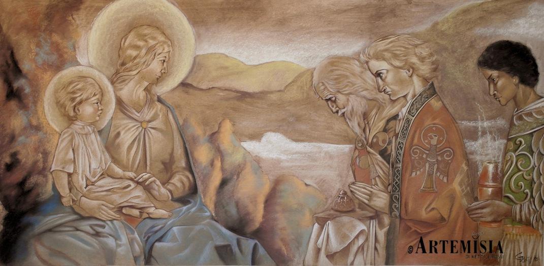 "Chalk on panel wood. Cm. 180x98 Copy to Jonh Dunan ""Adoration of Magi"""