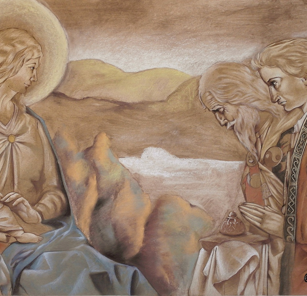 "Chalk on panel wood. Cm. 180x98 Copy to Jonh Dunan ""Adoration of Magi"""