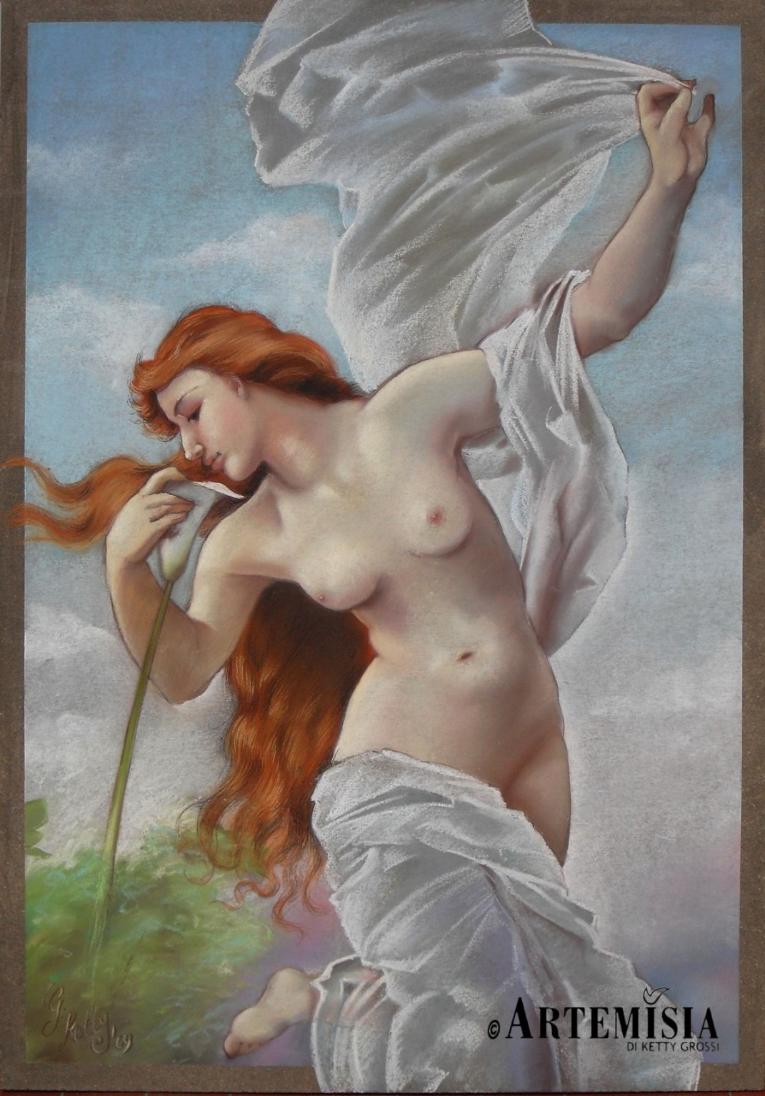 'Ninfa' Copy from Bouguereau Chalk on wood 100x120 cm