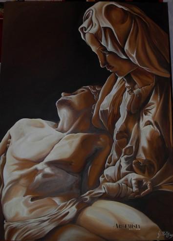 Copy to 'Pietà ' Michelangelo. Mixed technique on canvas. Copia di ' La dama con l'Ermellino' Leonardo. Tempera all'uovo su legno