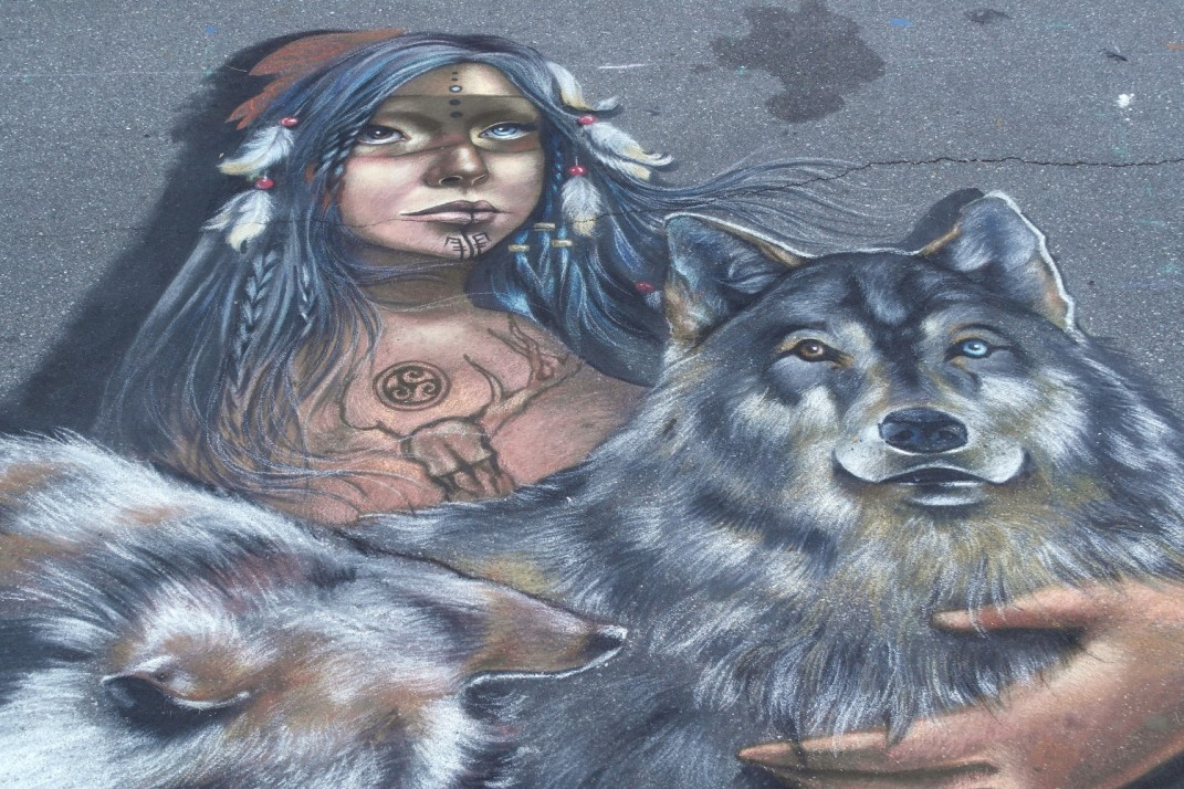 "Detail: Venice - Florida 2014 - Chalk Festival in Venice celebrating 'Extinct and Endangered Species' - Personal Theme: ""The spirit of Wolf"" Chalk on pavement - mt 4,2x4"