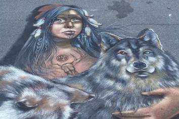 """Detail: Venice - Florida 2014 - Chalk Festival in Venice celebrating 'Extinct and Endangered Species' - Personal Theme: """"The spirit of Wolf"""" Chalk on pavement - mt 4,2x4"""