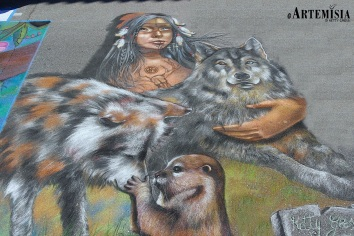 """Venice - Florida 2014 - Chalk Festival in Venice celebrating 'Extinct and Endangered Species' - Personal Theme: """"The spirit of Wolf"""" Chalk on pavement - mt 4,2x4"""