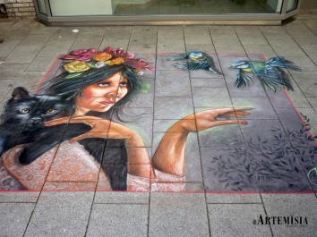 "Whilelmshaven StreetArt Festival ""Mother Nature"" Chalk on street - mt 3x2,8 Thank'you Maria Francesca Focarelli Barone, my model!!!"