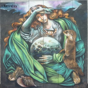 Whilelmshaven StreetArt Festival - Copy from 'The Moon' by Sandro Vasini Chalk on pavement 3,3x3,3 mt