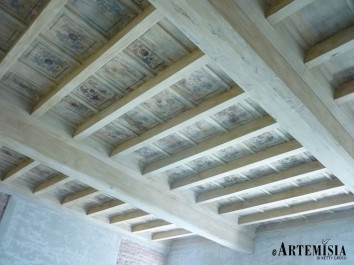 Wooden ceiling decorated. After restoration