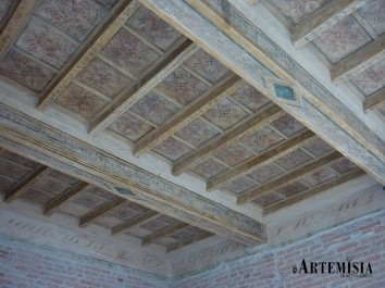 Wooden ceiling decorated. After restoration.
