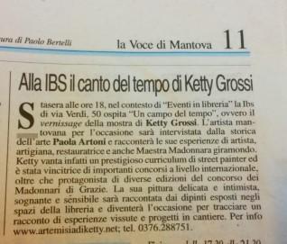 Articolo sulla Voce di Mantova per promuovere la serata.