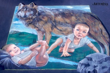 """""""Romolo and Remo"""" Chalk on street 4x4"""